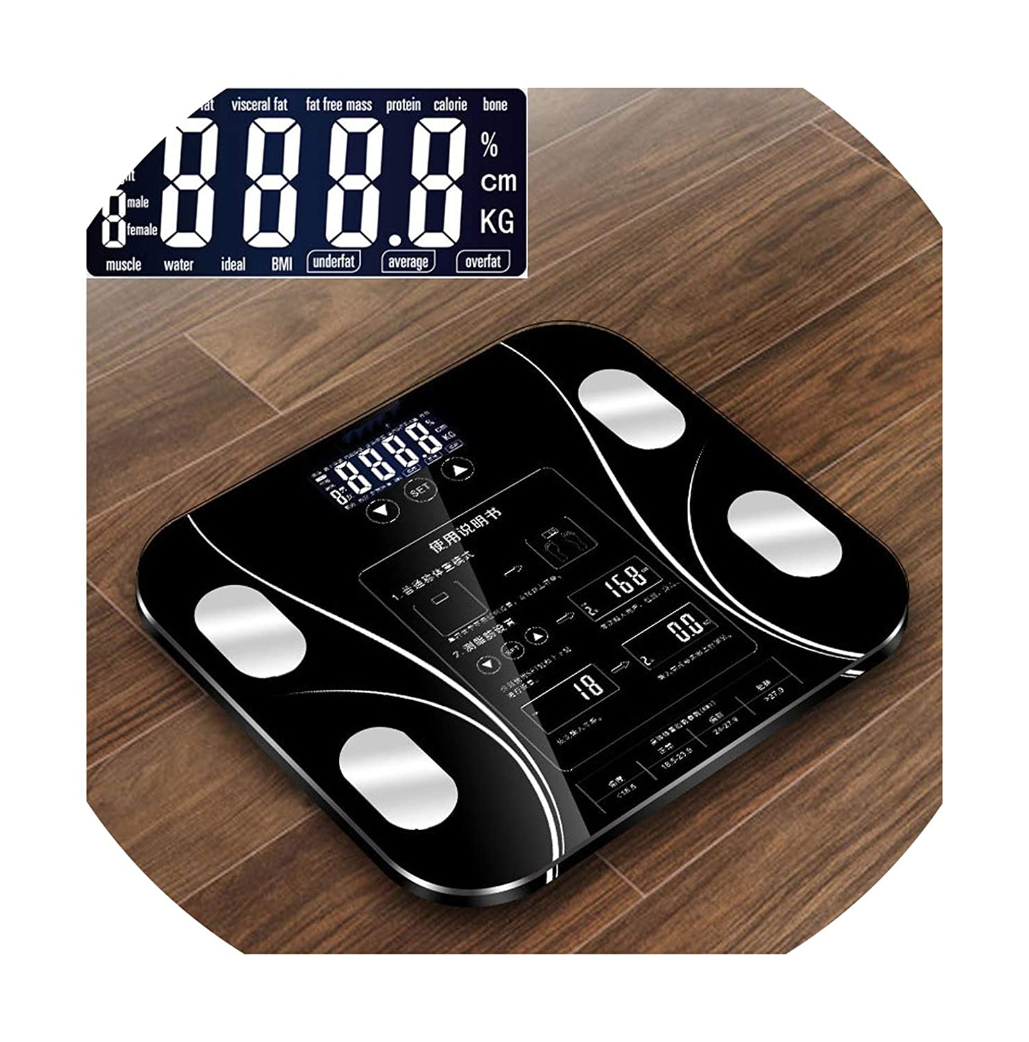 ... Button Bathroom Weight Scale LCD Smart Body Balance Electronic Scales Clever bmi Body Fat Scale Balance de Precision,Purple: Health & Personal Care