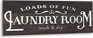LEJHOME Canvas Laundry Room Decor Wall Hanging Sign Art - Rustic Prints Laundry Rules Sign Frame - Funny Housewarming Gifts for New Homeowner 17 x 6 inch