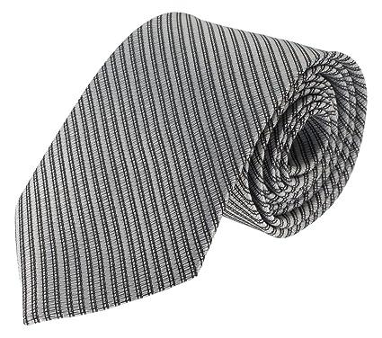 Para hombre cuello Color gris plata con estándar negro de rayas ...