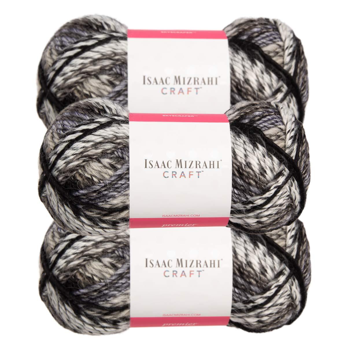 Premier Yarns (3 Pack Isaac Mizrahi NY Skyscraper Acrylic Soft Empire White Black Gray Yarn for Knitting Crocheting #5 Bulky