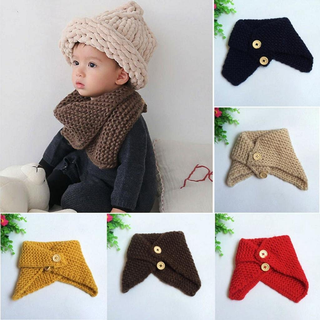Clode Neckerchief 1PC Baby Kids Neck Warm Scarf Knitted Snood Circle Shawl Winter Neckerchief WinterSuit for 10 Months-2 Years-Old Kids