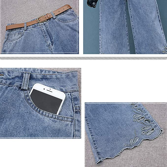 RXF Pantalones Vaqueros de Cintura Alta para Mujer ...