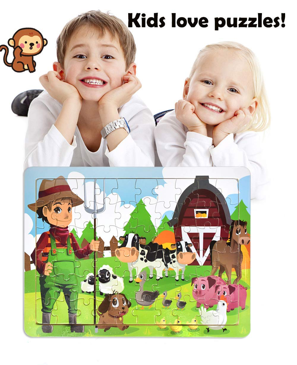 4 Puzzles Wooden Jigsaw Puzzles Set for Kids Age 3-8 Year Old 60 Piece Animals Colorful Wooden Puzzles for Toddler Children Learning Educational Puzzles Toys for Boys and Girls