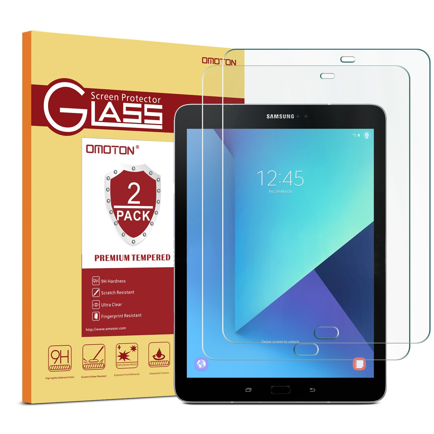 [2 Pack] Samsung Galaxy Tab S3 / Galaxy Tab S2 9.7 Glass Screen Protector, OMOTON Tempered-Glass Protector with [9H Hardness] [Crystal Clear] [Scratch-Resistant] [Bubble Free Easy Installation]