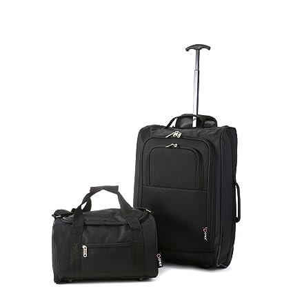 Ryanair 35x20x20 Cabina Aprobado y 55x40x20 Maleta Trolley (Negro)