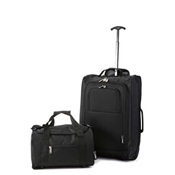 a26678167b6 5 Cities Ryanair Cabin Approved Main and Second Set Carry On BothHand  Luggage, 54 cm, 42 L, Black  Amazon.co.uk  Luggage