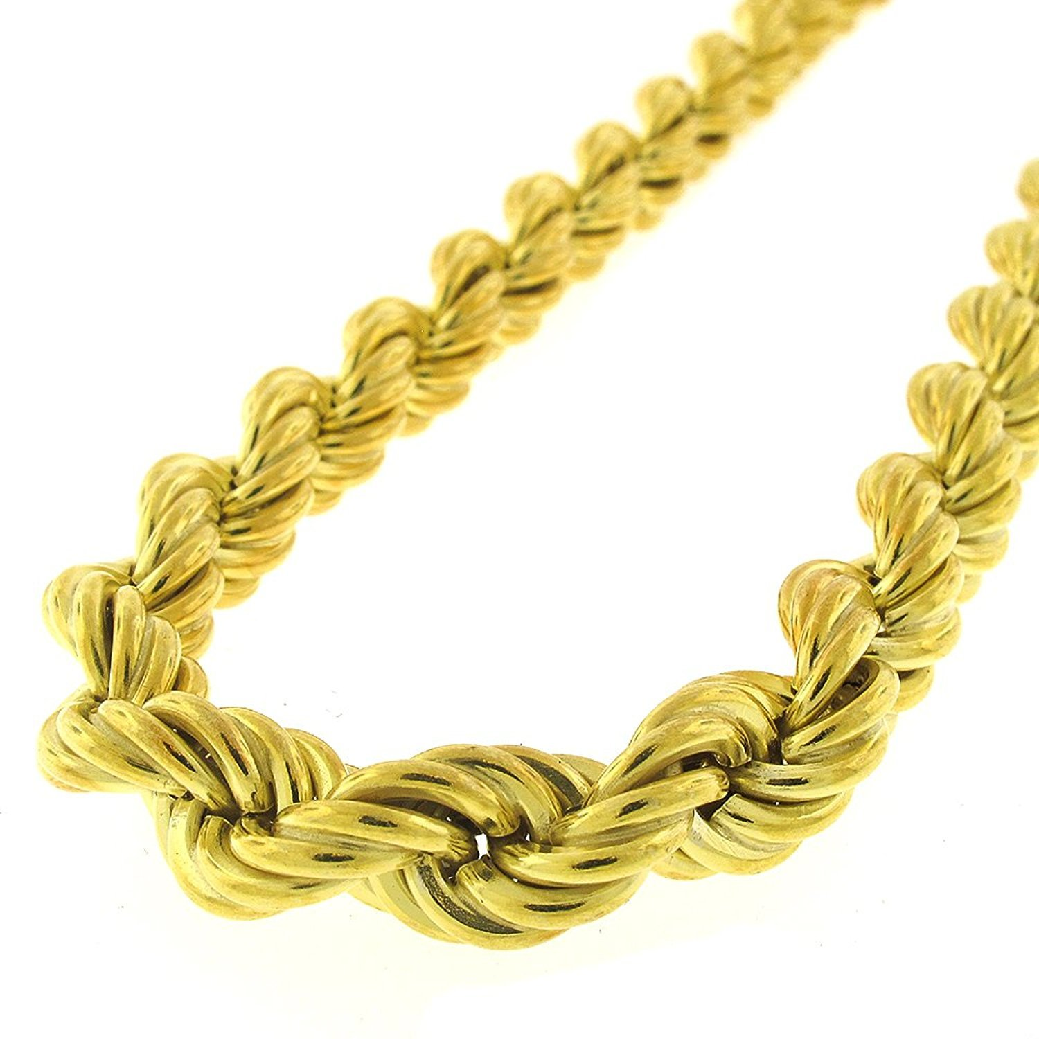 """18K Yellow Gold Plated Light-Weight Twisted 925 Necklace Chain 30/"""" 20/"""" Sterling Silver 9mm Hollow Rope Braided Link"""