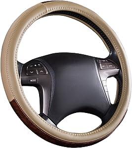 CAR PASS Classic Wood Grain Universal Leather Steering Wheel Cover fit for Trucks,suvs,Vans,sedans(Beige)