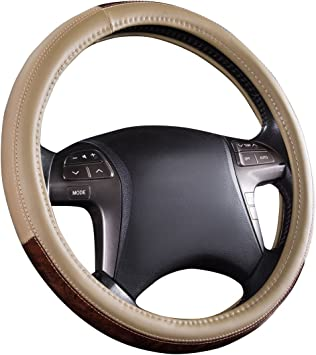 Anti-Slip Design /… Gray CAR PASS Universal Fit Full Wood Grain Leather Steering Wheel Covers Fit for Suvs,Trucks,Sedans