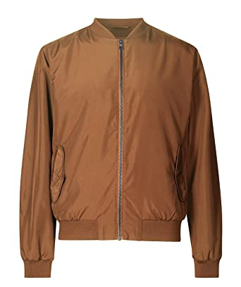 38386866583 Marks and Spencer M S Mens Brown Baseball Bomber Jacket (M)  Amazon ...