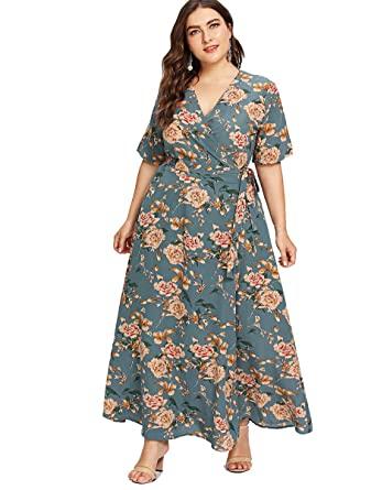 Romwe Women\'s Plus Size Floral Print Buttons Short Sleeve V Neck ...