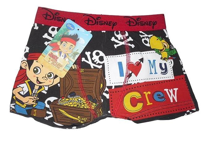 Boys bóxer pantalones cortos ropa interior DISNEY JAKE y los piratas de Nunca rojo & negro