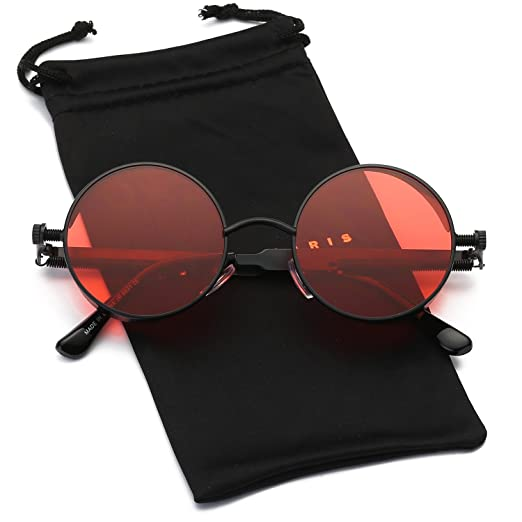 e5399b0941 Dumok Round Metal Gothic Steampunk Vintage Circle Sunglasses DSR008 With  Black Frame Red Lens