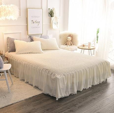 Amazon.com: LIFEREVO Luxury Velvet Dust Ruffle Bed Skirt Diamond ... : white quilted bed skirt - Adamdwight.com