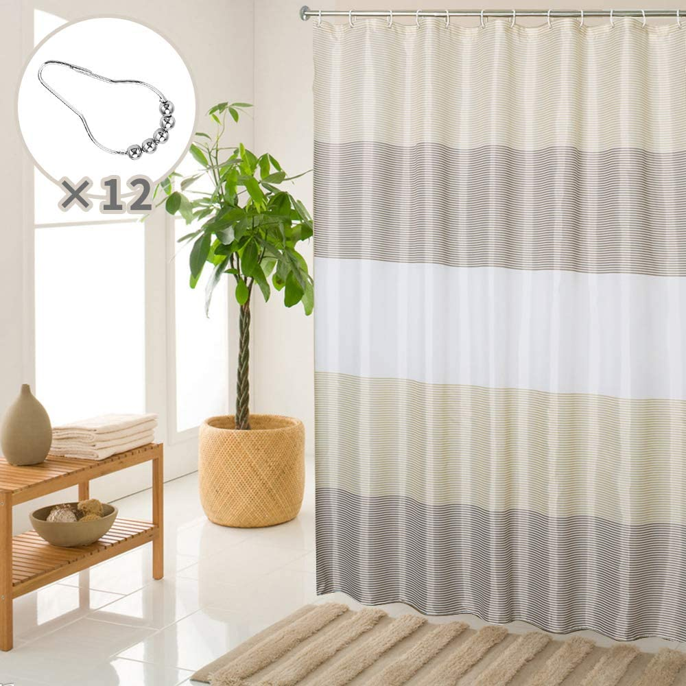 """SHE'S HOME Beige Brown Shower Curtain Sets for Bathroom Waterproof Striped Textile Liner with 12 Metal Rings, 72"""" W×72"""" L"""