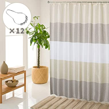 SHE'S HOME Beige Brown Shower Curtain Sets for Bathroom Waterproof Striped Textile Liner with 12 Metal Rings, 72  W×72  L
