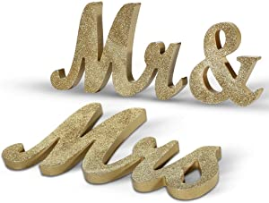 Haperlare Vintage Style Mr and Mrs Sign Mr & Mrs Wooden Letters Wedding Sign with Gold Glitter Letters Gold Mr and Mrs Sign for Wedding Table,Photo Props,Party Table,Top Dinner Christmas Decorations