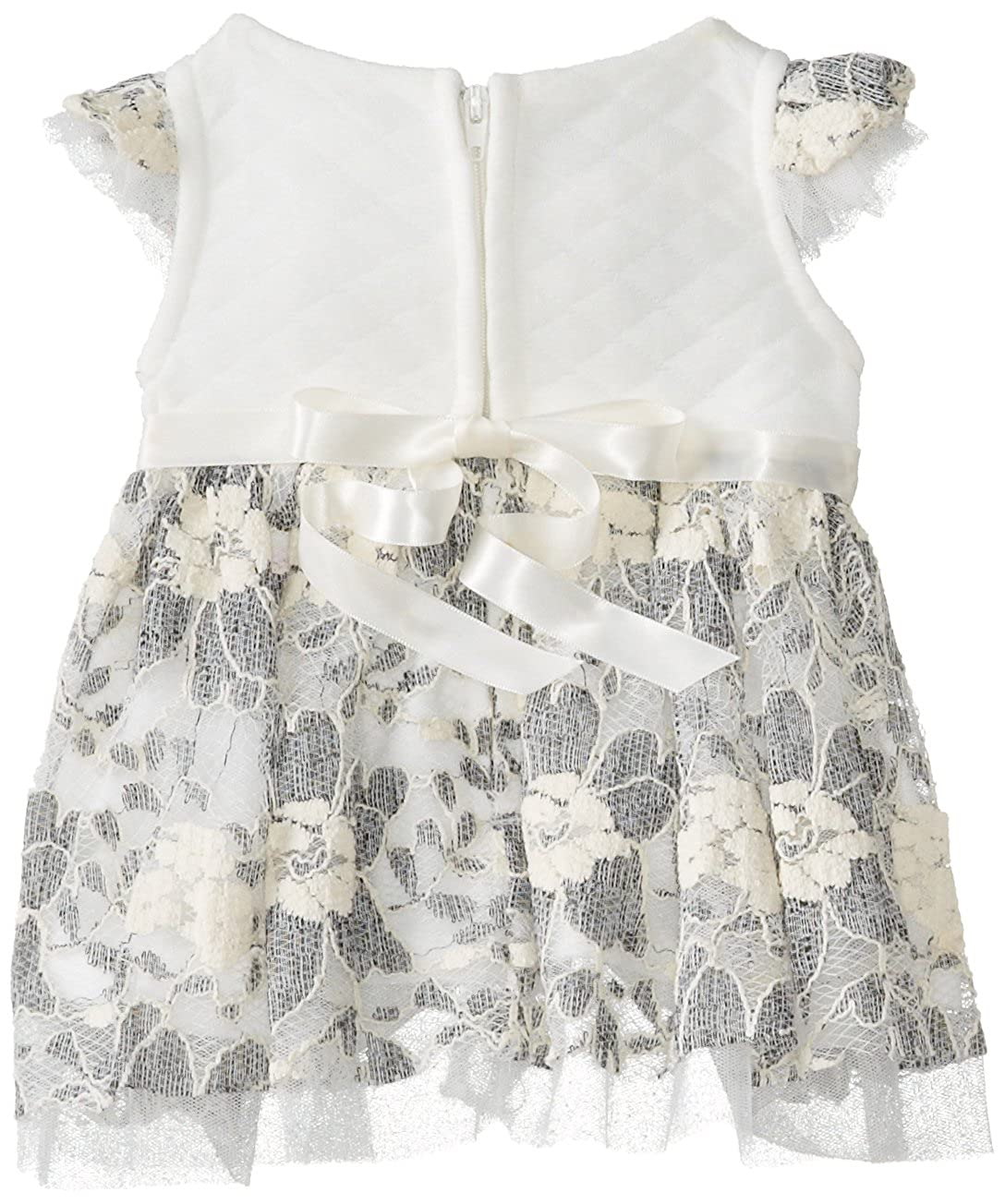 Bonnie Baby Baby-Girls Newborn Ivory Lace and Quilted Bodice Dress