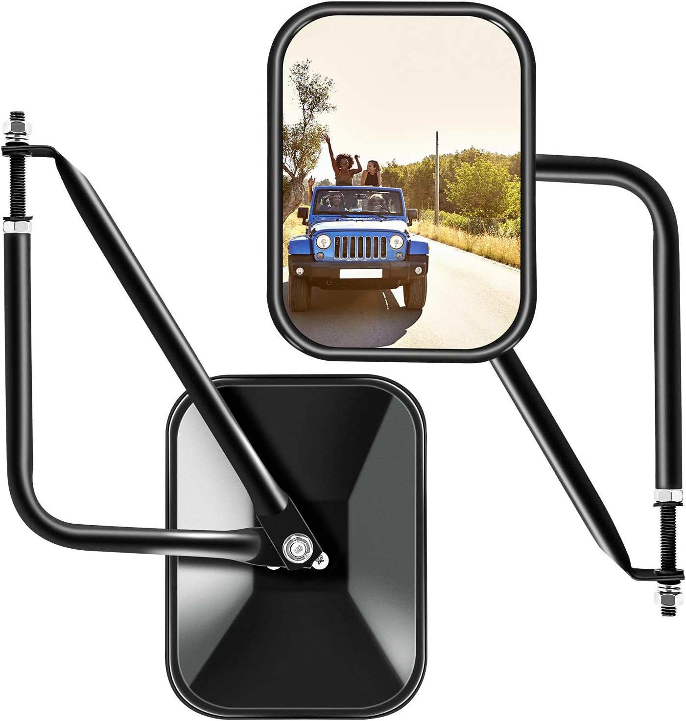 1 Pair Doors off Mirrors Doorless Mirrors Fits Jeep Wrangler Rear View Mirrors Quick Release Mirrors Fits Jeep JK JKU LJ CJ TJ Shake Proof Side Mirrors