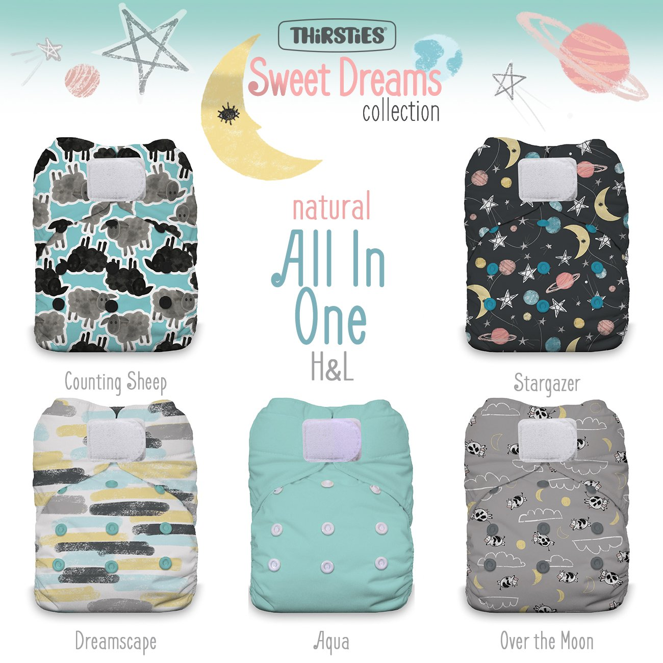 Thirsties TNATOSAIOPHLSD Package Natural One Size All In One Hook & Loop Sweet Dreams Collection Diapers