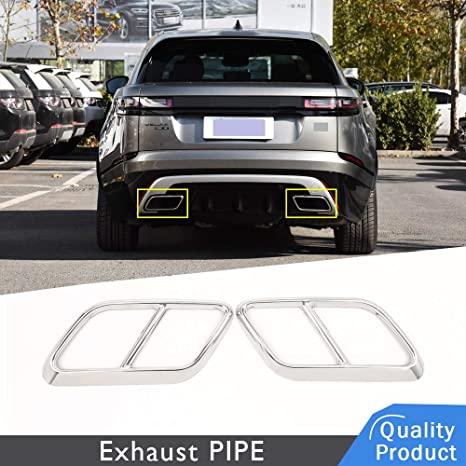 2PCS Exhaust Pipe for Range Rover,Stainless Steel Car Exhaust Muffler Tip Pipes Automotive Replacement Exhaust Pipes Silver