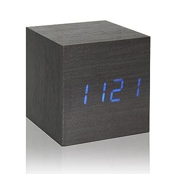 Reloj de madera cubo LED alarma digital escritorio reloj de control de voz temporizador termómetro calendario (Negro (azul llevado)): Amazon.es: Hogar