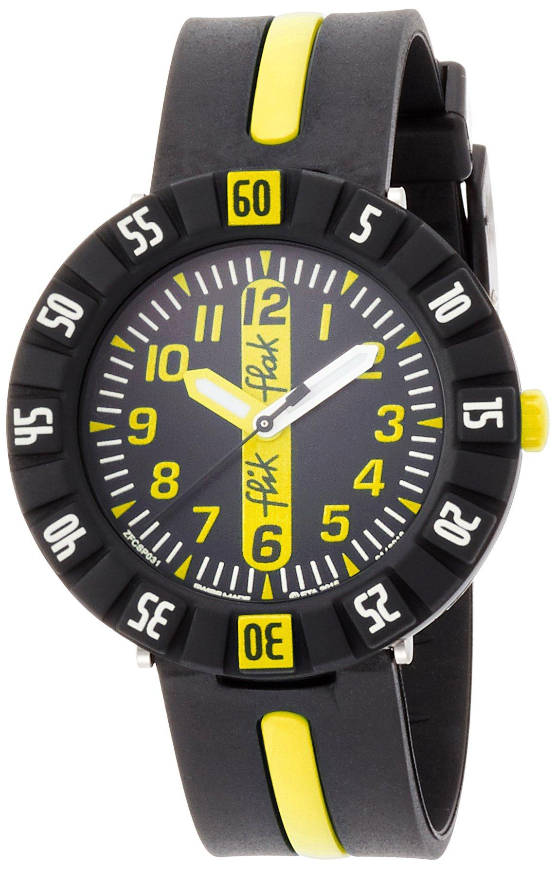 Flik Flak Sunny Hours Yellow Ahead Black Dial Plastic Strap Boys Watch ZFCSP033