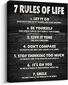 Pigort Motivational Quotes Wall Decor 7 Rules of Life Inspirational Motto Canvas Print Wall Art Framed (12x15 inch, Black)