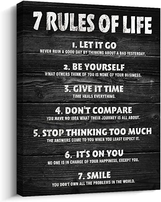 Amazon Com Pigort Motivational Quotes Wall Decor 7 Rules Of Life Inspirational Motto Canvas Print Wall Art 12x15 Inch Black Posters Prints
