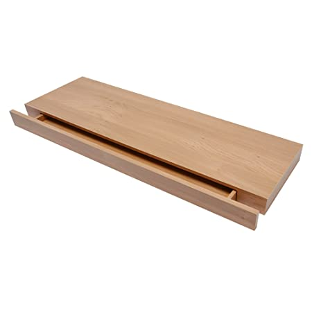 Duraline Floating Wall Shelf With Drawer Oak  X  Cm