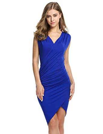 ANGVNS Women V Neck Sleeveless Knee Length Party Pleated Dress