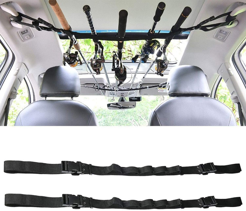 KUDES 2 Pack Vehicle Fishing Rod Rack Holder Adjustable 35 to 44 inch Easy Install Fishing Car Rod Carrier Belt Strap for SUV, Wagons, Van (Black): Home Improvement