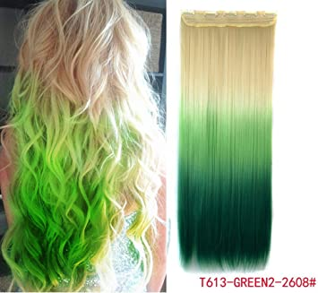 Amazon Com White Blonde To Green Three Colors Ombre Hair