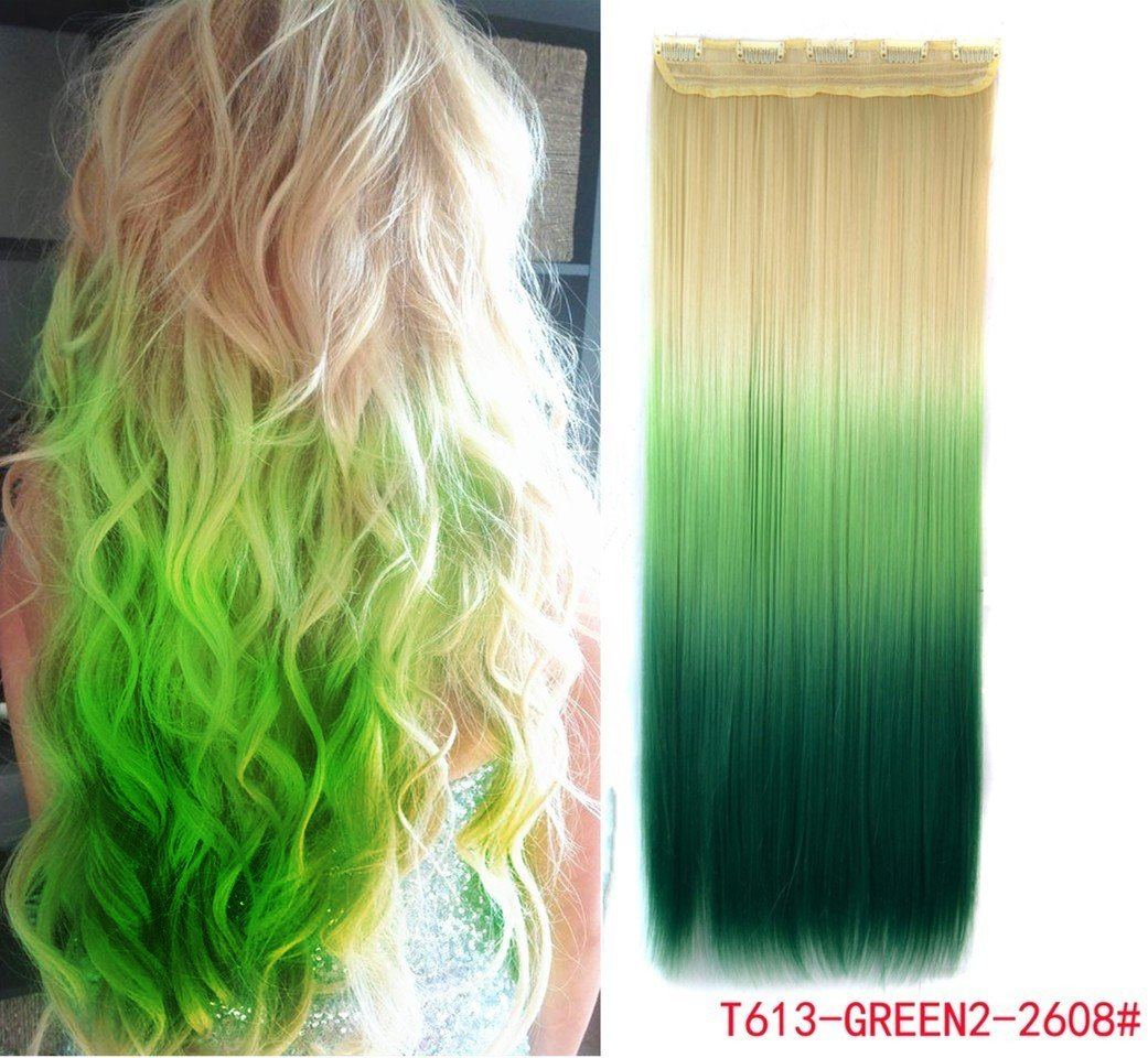 Amazon White Blonde To Green Three Colors Ombre Hair