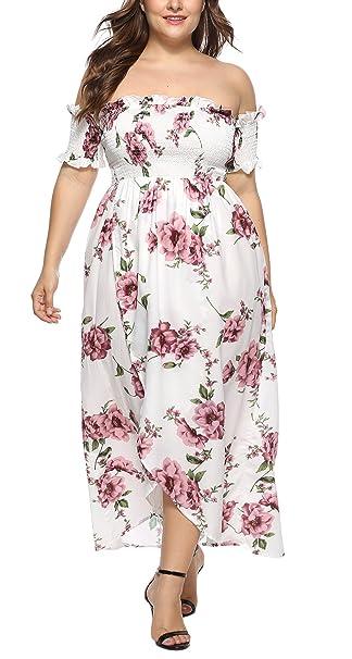 HaiDean Vestidos Tallas Grandes Mujer Elegante Vestidos De Verano Barco Modernas Casual Cuello Sin Tirantes Espalda Descubierta Manga Corta Vestidos Maxi ...