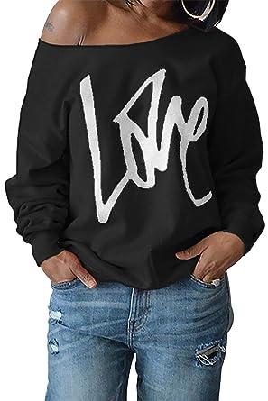 2345e4e885c6d2 ReachMe Womens Off The Shoulder Slouchy Sweatshirt Love Print Oversized  Pullover(Black