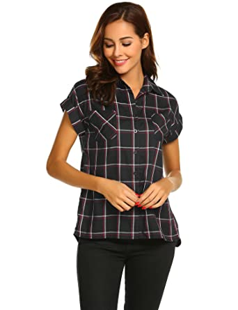 48df31553001 Meaneor Women Casual Turn-Down Collar Roll-up Short Sleeve Chiffon  Lightweight Plaid Shirt: Amazon.co.uk: Clothing