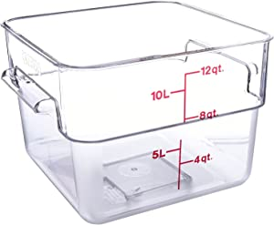 Cambro Camwear 12SFSCW135 Polycarbonate Square Food Storage container, 12 Quart, 6 Pack