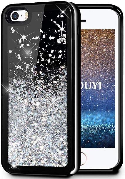 Coque iPhone 5/5S/SE,KOUYI Flottant Liquide Noir Étui Protecteur TPU Bumper Cover Brillant Bling 3D Créatif Sparkly Coques Telephone étui pour Apple ...