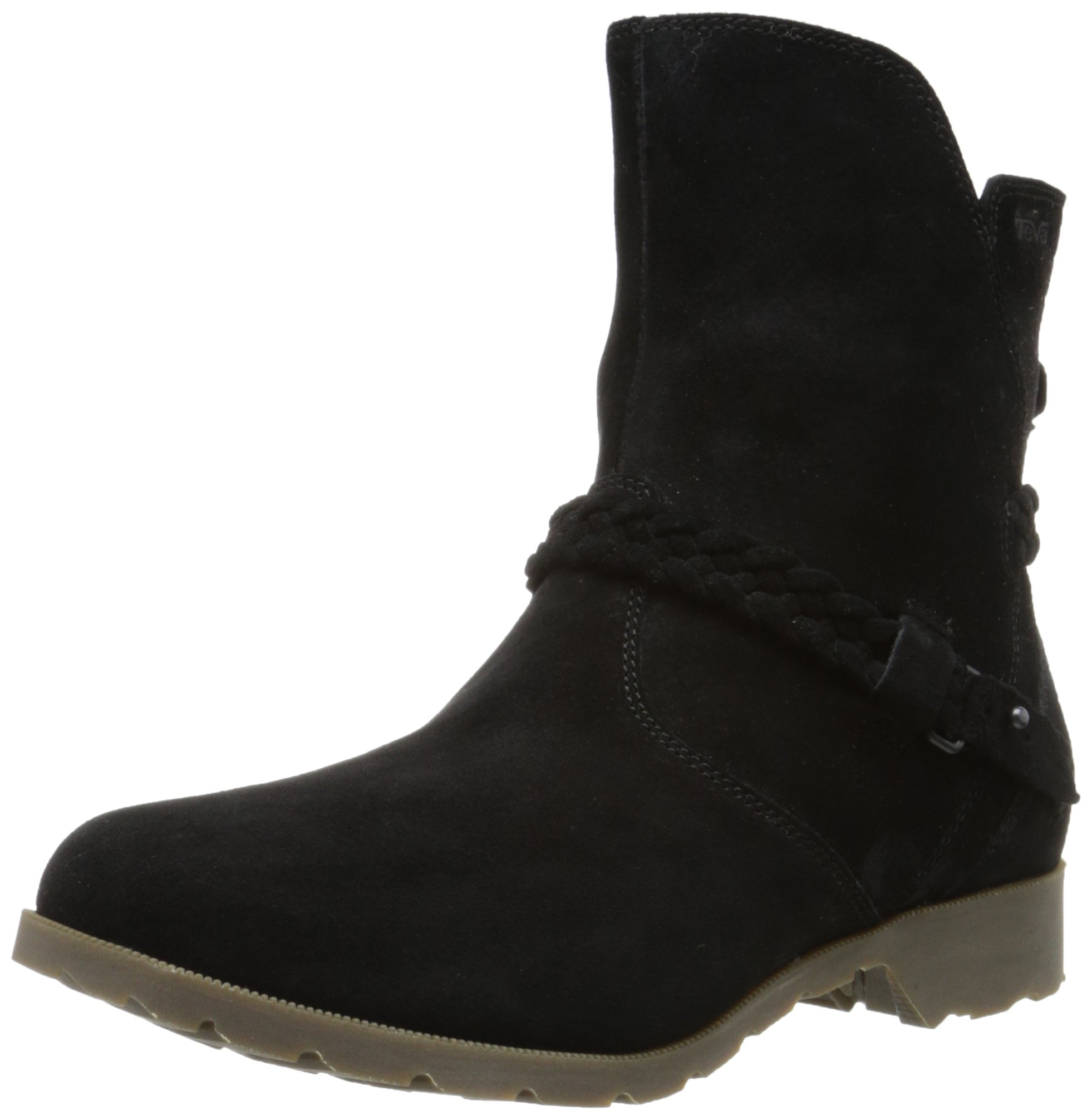 Teva Women's W Delavina Low Suede Mid Calf Boot, Black, 8 M US