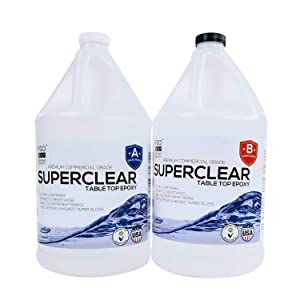 SUPERCLEAR EPOXY RESIN 2 Gallon Kit, Fiberglass Coatings, Inc., FOR RIVER TABLES, LIVE EDGE TABLES, BAR TOPS AND COUNTER TOPS, 1:1 Ratio