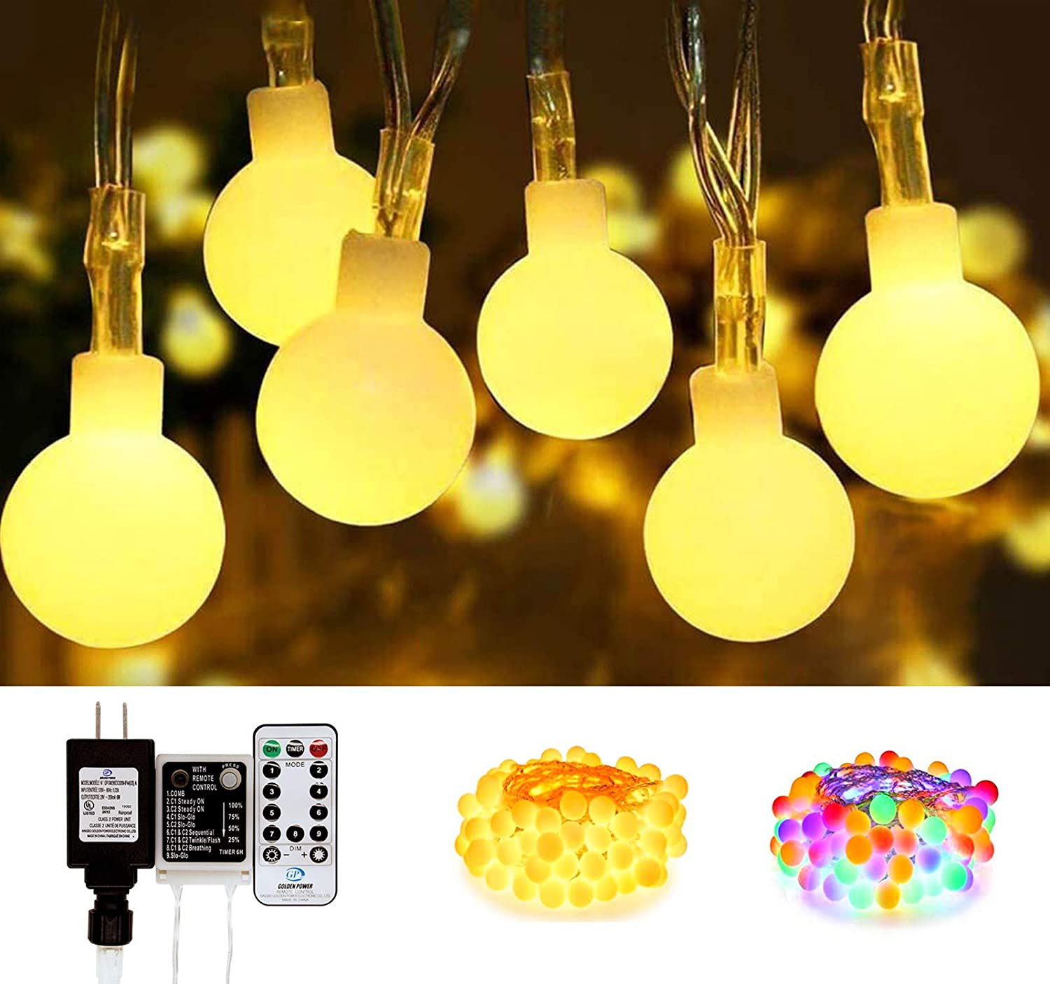 SEMILITS LED Globe String Lights 45Ft 100 LED Plug in String Light with Remote Outdoor Fairy Lights for Christmas Indoor Bedroom Decor(Upgrade Warm White & Multicolor Free Switching)