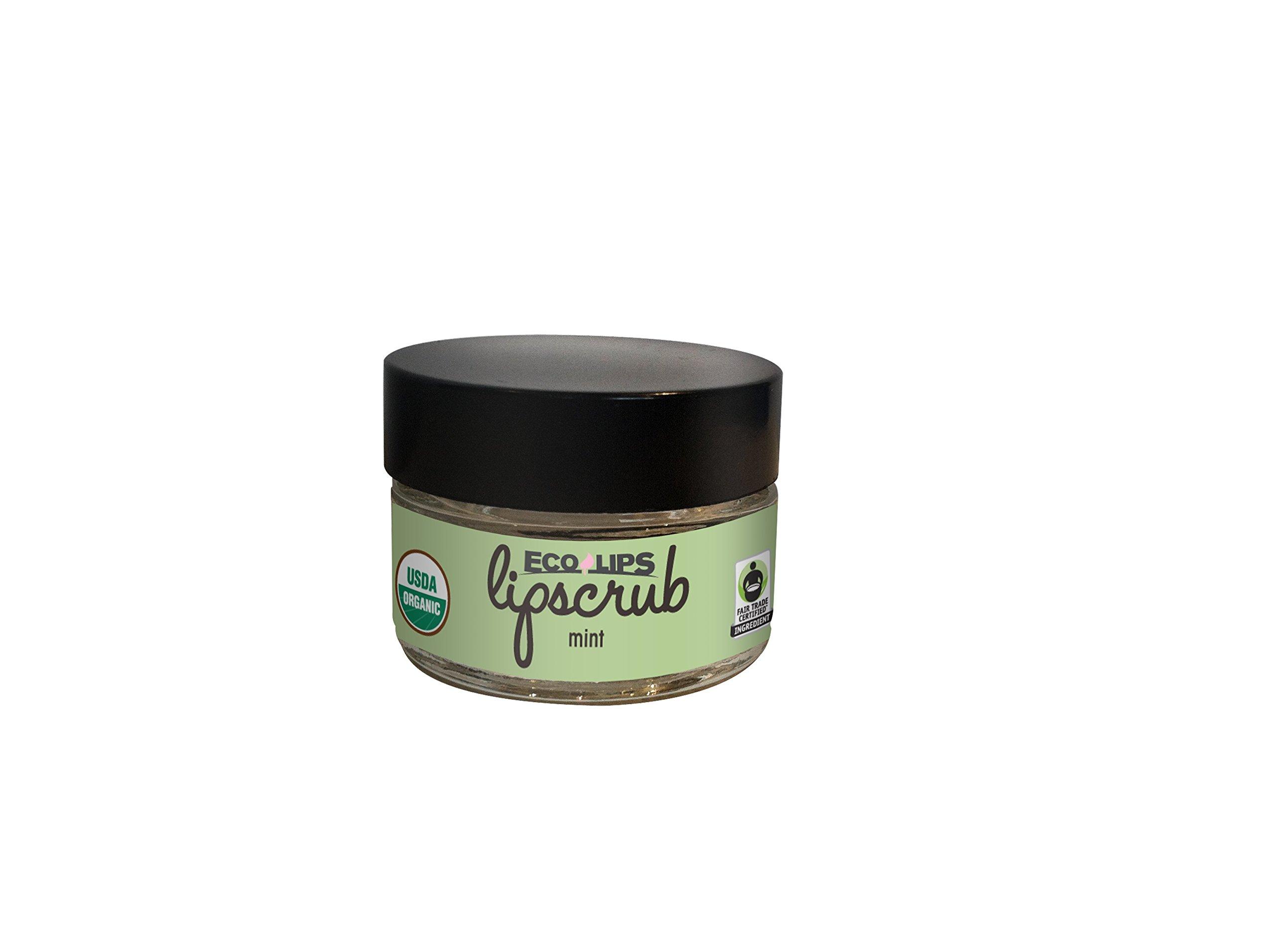 Eco Lips LIP SUGAR SCRUB 2 Pack (2- 0.5oz jars) 100% Organic Lip Care Treatment with Organic Sugar & Coconut Oil - Gently Exfoliate & Polish Dry, Flaky Lips, 100% Edible (Mint)