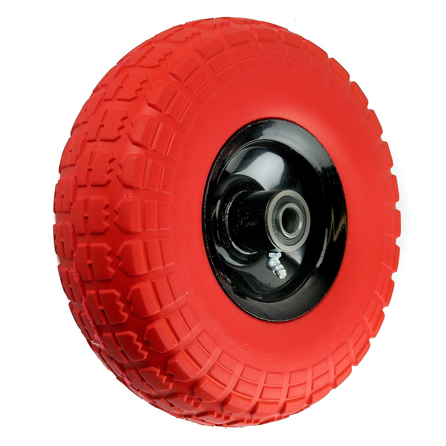 Troy Safety NK WFFOR10 Heavy Duty Solid Rubber Flat Free Tubeless Hand Truck/Utility Tire Wheel, 4.10/3.50-4'' Tire, 2-1/4'' Offset Hub, 5/8'' Bearing