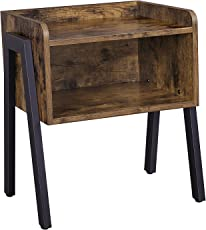 SONGMICS Vintage Side Table Stackable Nightstand End For Small Spaces Coffee With