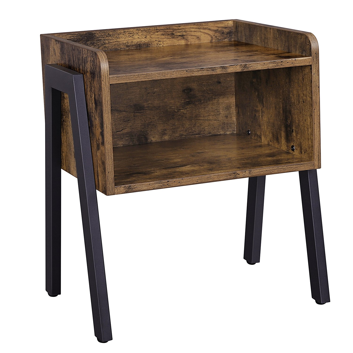 SONGMICS Vintage Side Table, Stackable Nightstand End Table Small Spaces, Coffee Table Open Front Storage Compartment, Wood Look Accent Furniture Metal Frame ULET54X