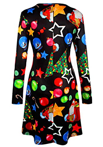 Lananas Women Christmas Santa Claus Candy Star Ice Snowball Long Sleeve A-Line Party Black Dress at Amazon Womens Clothing store: