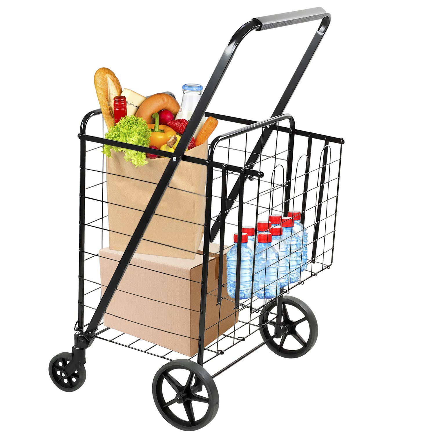 Mount-It! Rolling Utility Shopping Cart for Groceries and Other Supplies - Portable Grocery Cart with Double Baskets and Dual Swiveling Wheels - Lightweight Durable Metal Construction, Weighs 12 lbs by Mount-It!