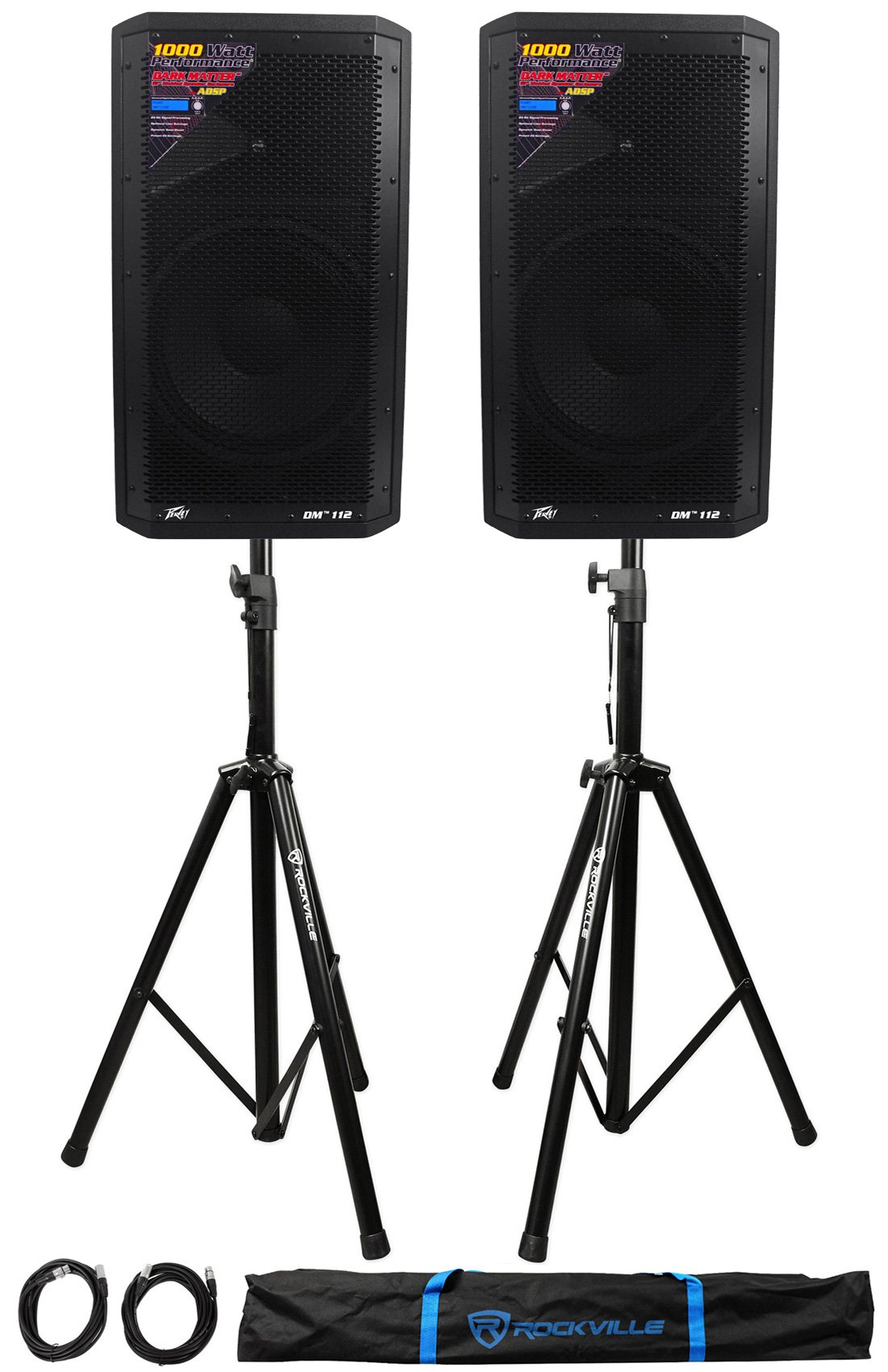 (2) Peavey DM 112 12'' 1000W Powered PA Speakers+Stands+Cables+Bag