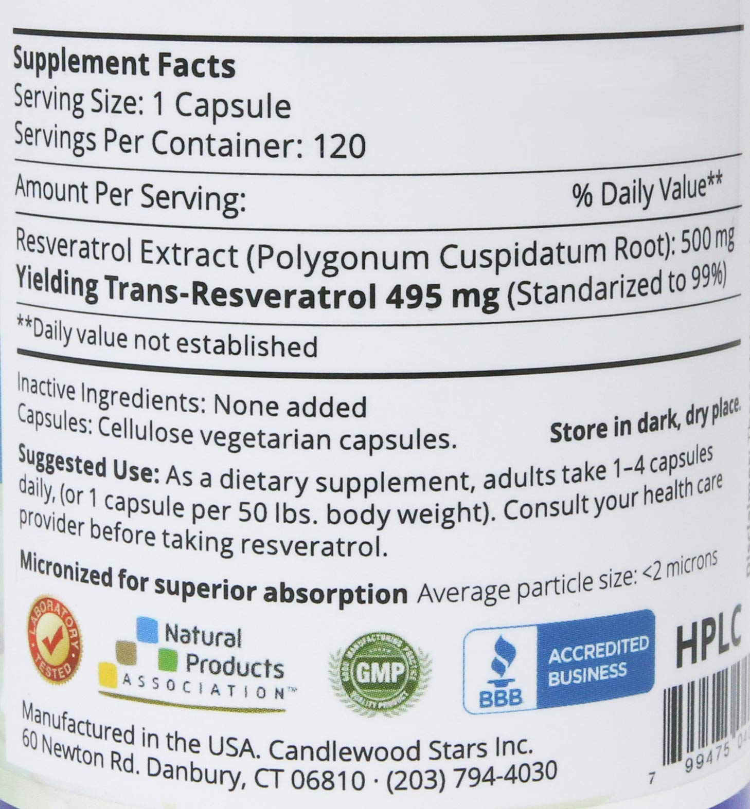 Mega Resveratrol, Pharmaceutical Grade, 99% Pure Micronized Trans-Resveratrol, 120 Vegetarian Capsules, 500 mg per Capsule. Purity Certified. Absolutely no excipients (aka Inactive Ingredients) Added by Mega Resveratrol (Image #3)